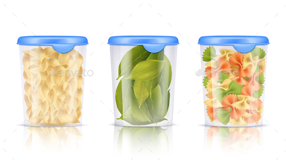 Filled Plastic Food Containers Icon Set - Food Objects