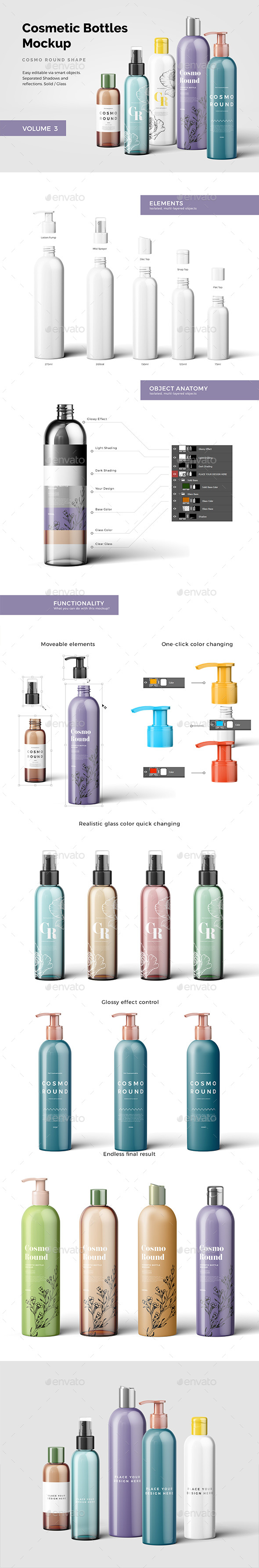 Cosmetic Bottles Mockup Vol.3 - Beauty Packaging