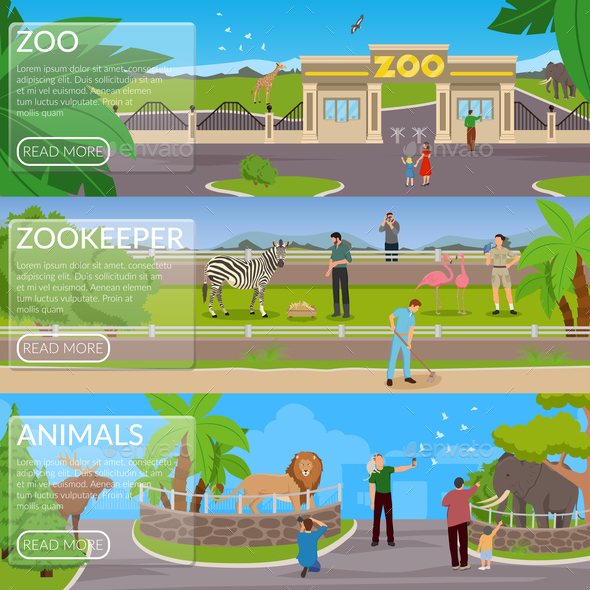 Zoo Flat Horizontal Banners - Animals Characters