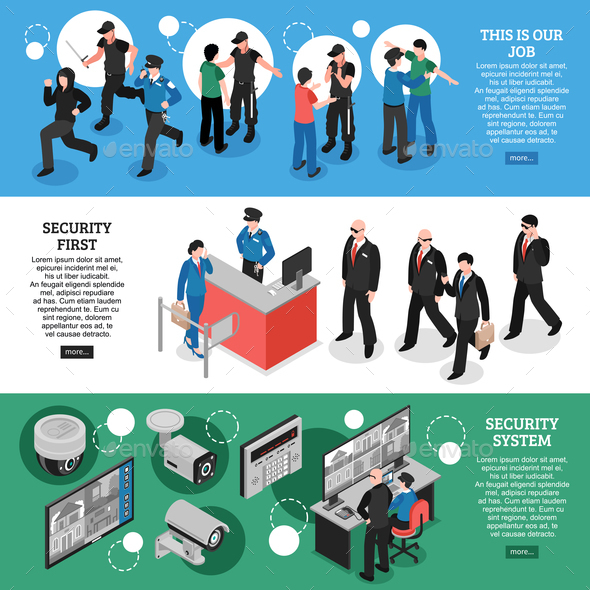Security Isometric Banners - People Characters