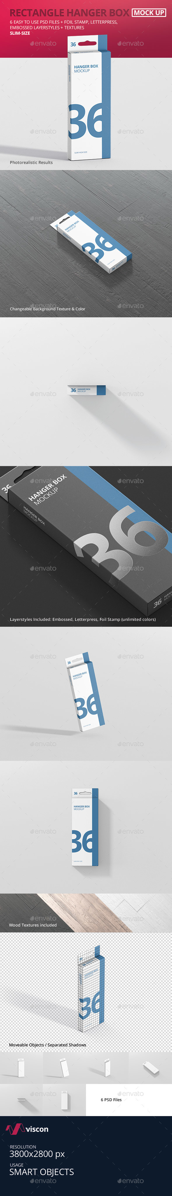 GraphicRiver Box Mockup Rectangle Slim High with Hanger 21019663
