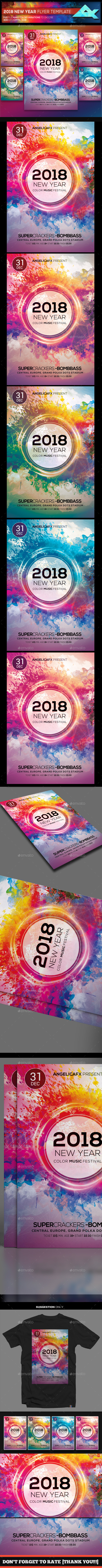 GraphicRiver 2018 New Year Color Music Festival Flyer Template 21019712