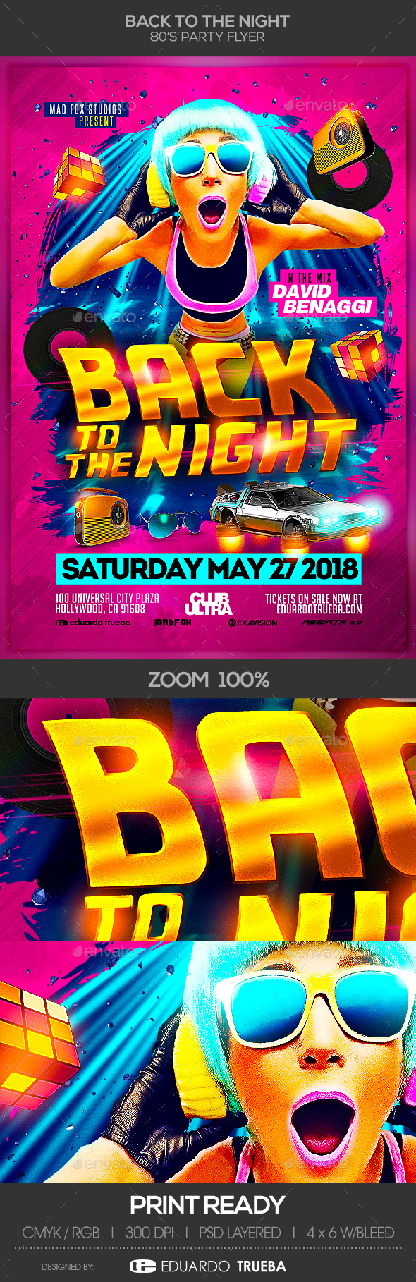 Back to the Night 80's Party Flyer - Clubs & Parties Events