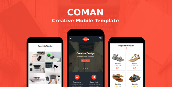 Coman - Creative Mobile Template - Mobile Site Templates