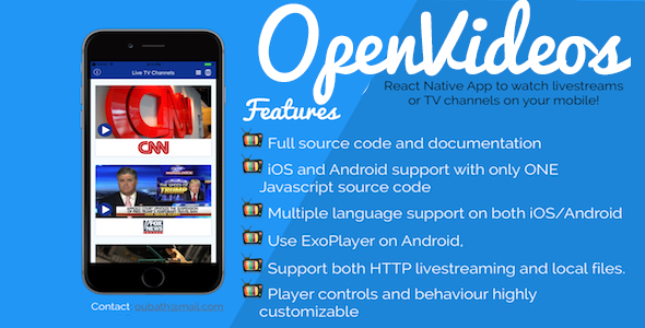 OpenVideos - React Native App (Android/iOS) for TV Channels and livestreams