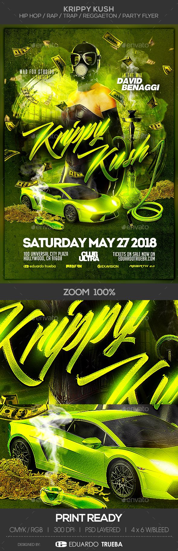 Krippy Kush - Hip Hop / Rap / Trap / Reggaeton Party Flyer - Clubs & Parties Events