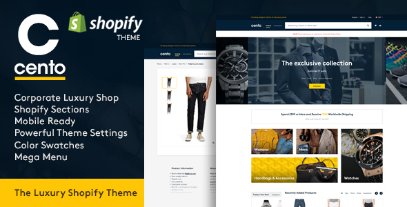 ThemeForest Cento Corporate & Luxury Products Responsive Shopify Theme 21019958
