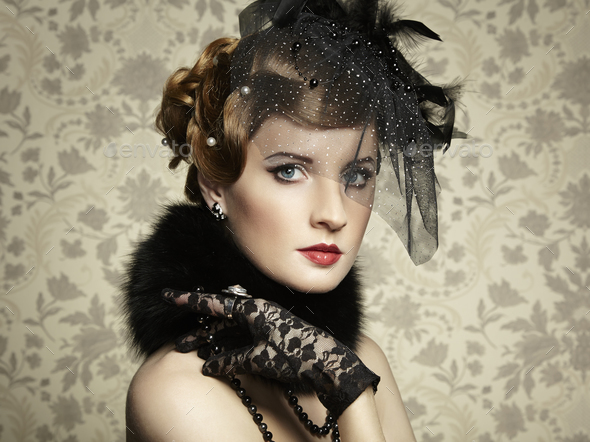 Retro portrait of  beautiful woman. Vintage style - Stock Photo - Images