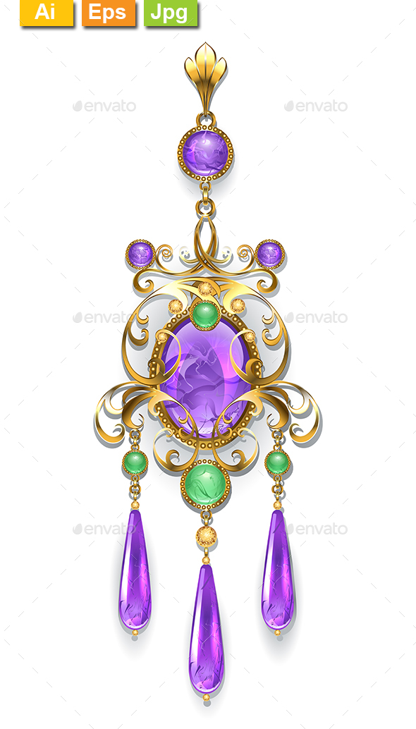 Brooch with Amethyst and Chrysoprase - Man-made Objects Objects