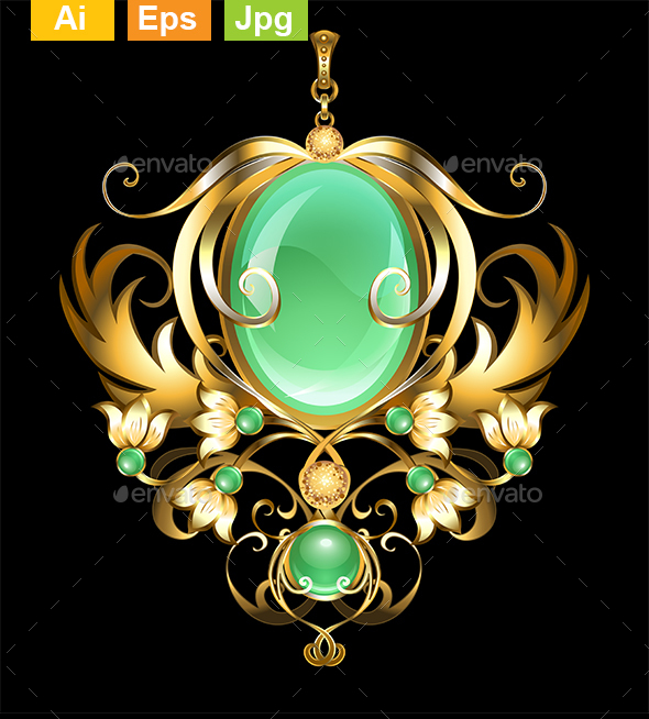 Gold Brooch with Chrysoprase - Man-made Objects Objects