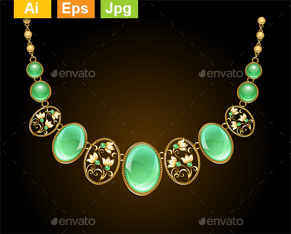 Golden Necklace with Chrysoprase - Man-made Objects Objects