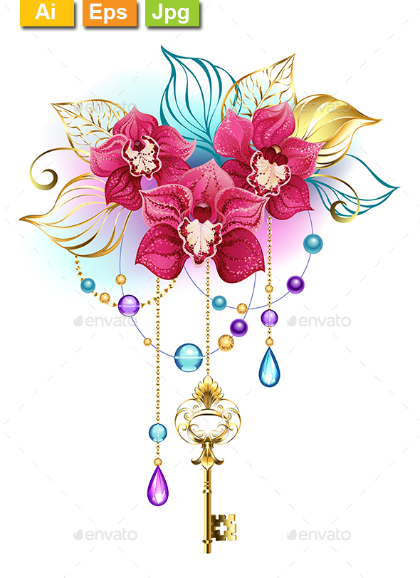 GraphicRiver Pink Orchid with Key 21020433