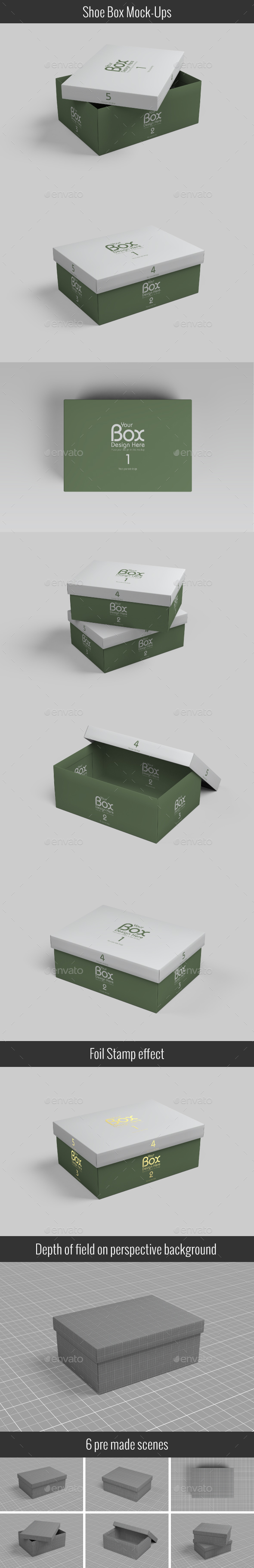 Shoe Box Mockups - Packaging Product Mock-Ups