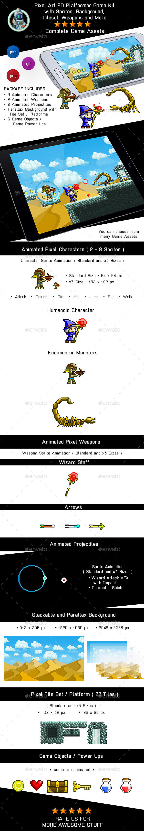 Game Assets Pixel Platformer Kit - Sprites, Background and Weapons - Game Kits Game Assets