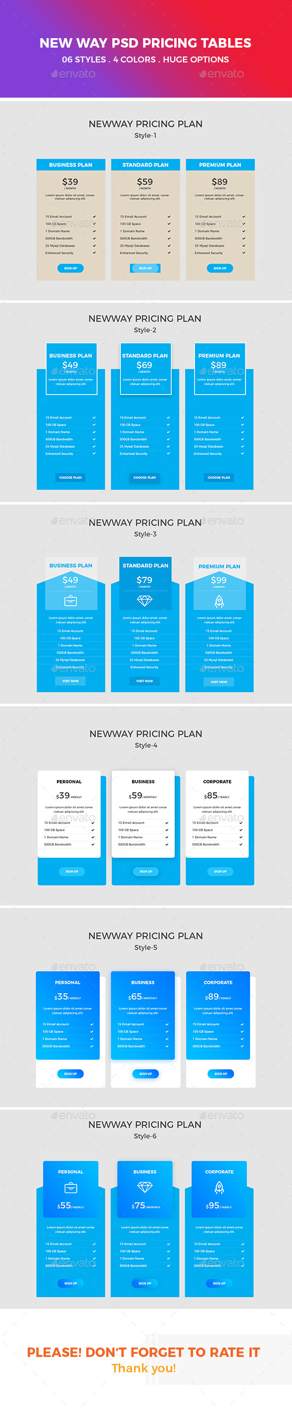 GraphicRiver New Way PSD Pricing Tables 21020862
