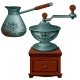 Ancient Coffee Grinder and Cezve. Vintage Turk - GraphicRiver Item for Sale