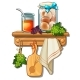 Bank with Honey, Eggs, Cutting Board, Towel - GraphicRiver Item for Sale