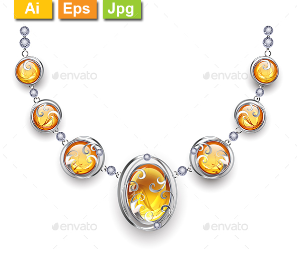 Silver Necklace with Amber - Man-made Objects Objects