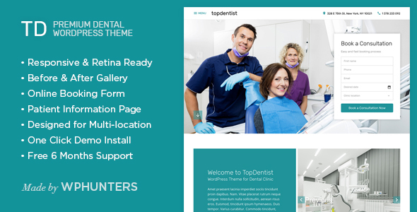 TD - Premium Dental WordPress Theme - Health & Beauty Retail