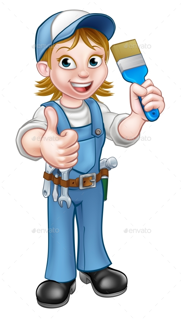 Cartoon Woman Painter Decorator Character - People Characters