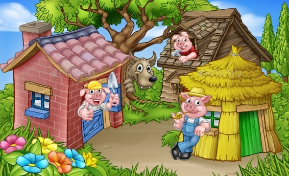 GraphicRiver The Three Little Pigs Fairytale Scene 21020977