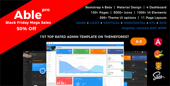 Able pro Responsive Bootstrap 4 Admin Template + Angular 1 Version - Admin Templates Site Templates