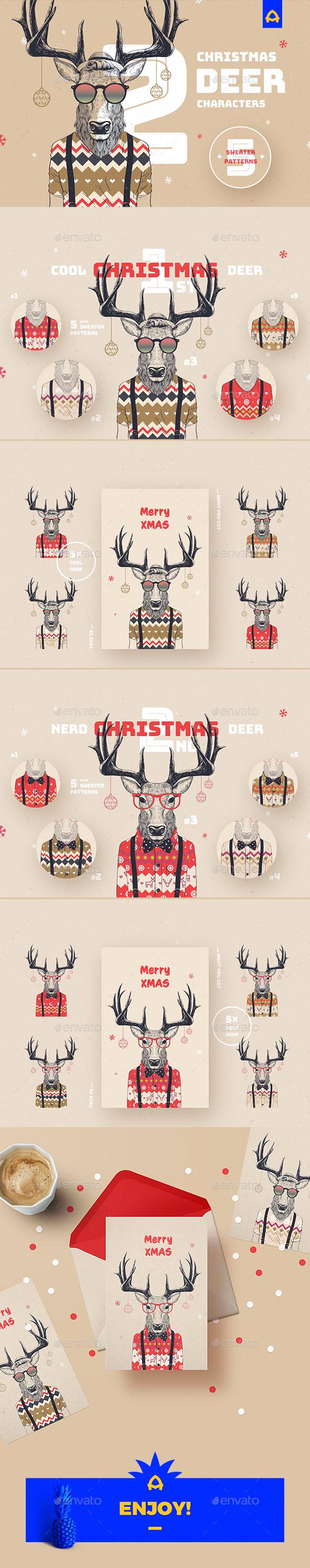 GraphicRiver Christmas Deer Characters 21021010