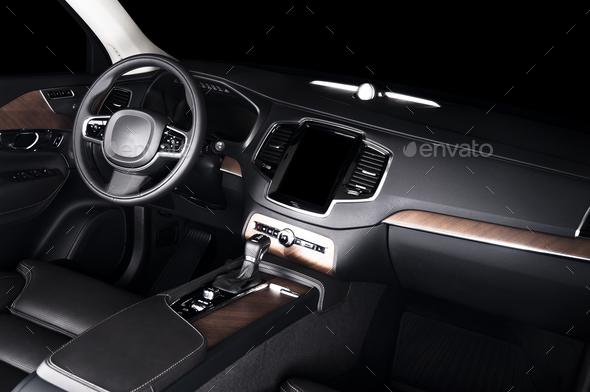 Car dashboard, modern luxury interior, steering wheel - Stock Photo - Images