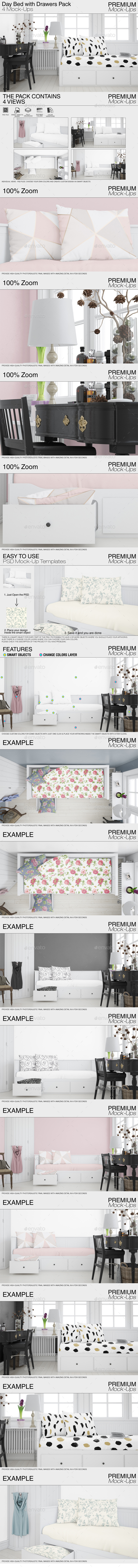 GraphicRiver Day Bed with Drawers Set 21021279