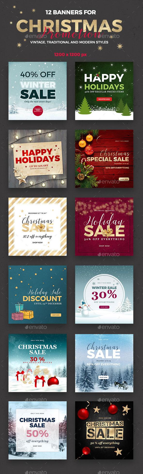 12 Christmas Banner - Social Media Web Elements