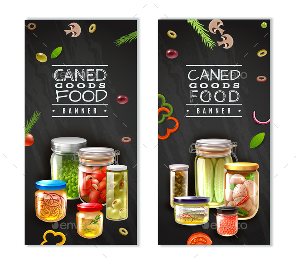 Canned Food Vertical Banners - Food Objects