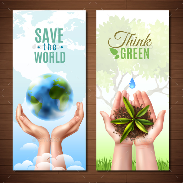 Ecology Realistic Hands Banners - Flowers & Plants Nature