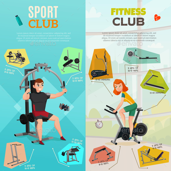 Exercise Equipment Banners - People Characters