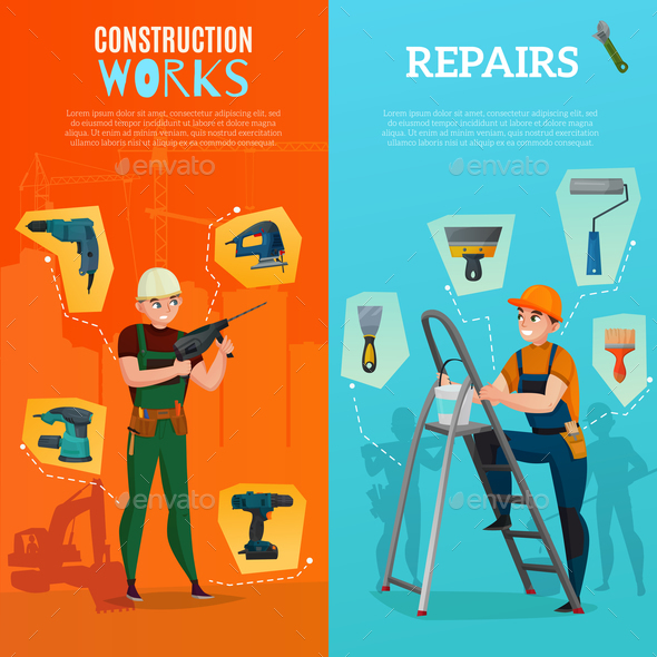 Construction Workers Vertical Banners - Business Conceptual