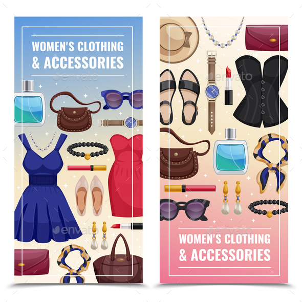 Women Accessories Vertical Banner Set - Business Conceptual