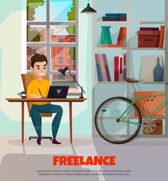 GraphicRiver Freelancer During Work Illustration 21021605