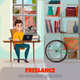 Freelancer During Work Illustration