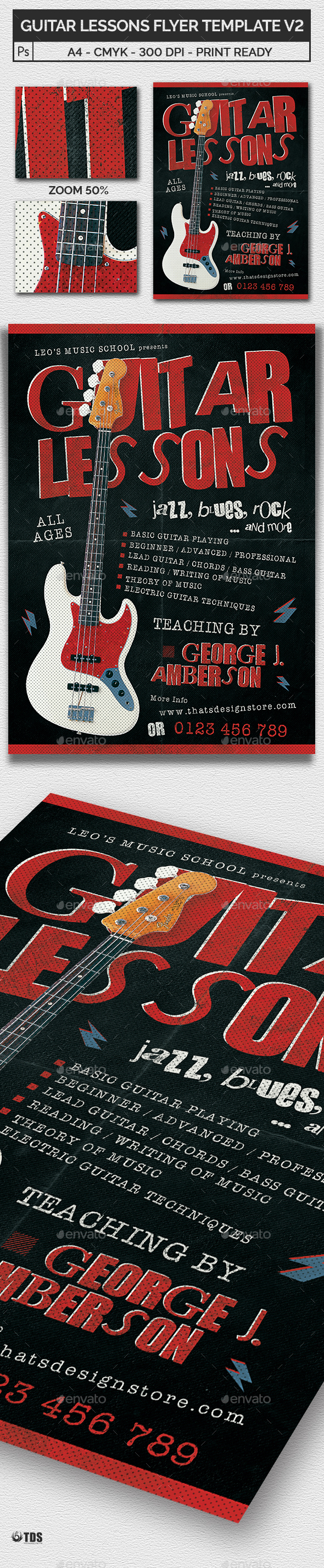 Guitar Lessons Flyer Template V2 - Concerts Events