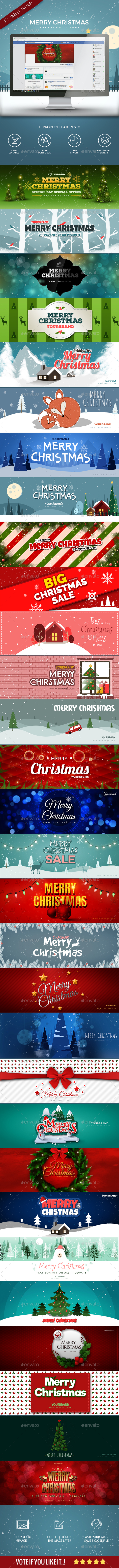 GraphicRiver 30 Christmas Facebook Covers 21021798