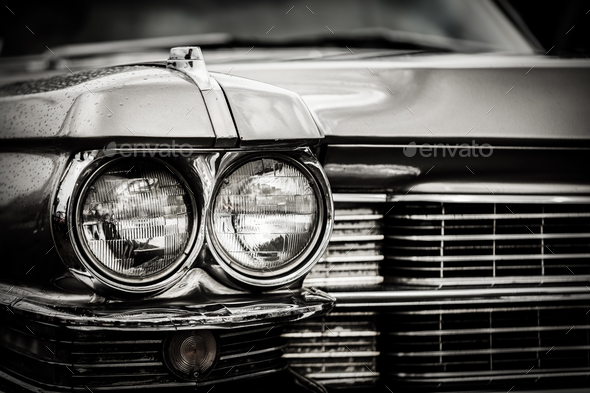 Close up detail of restored classic American car. - Stock Photo - Images