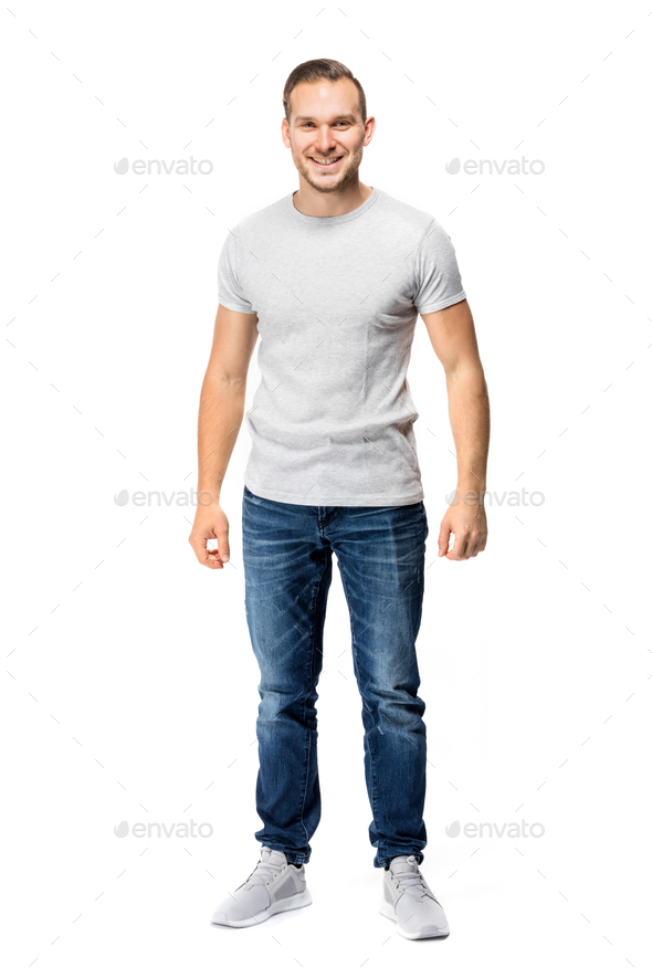 6778f91144d Handsome man in white t-shirt. Full body. Stock Photo by photocreo