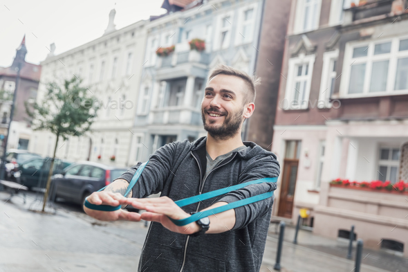 Man working out in the city. Healthy regimen - Stock Photo - Images