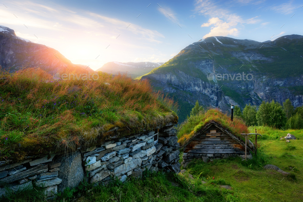 The grass-roofed houses in Norway - Stock Photo - Images