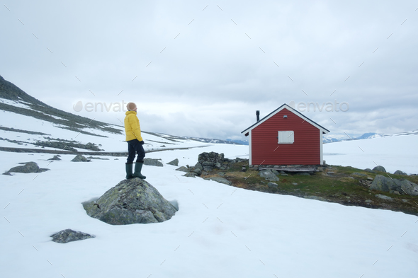 Typical norwegian red wooden house - Stock Photo - Images