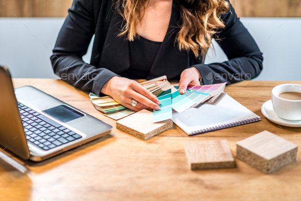 Young designer working from  home - Stock Photo - Images