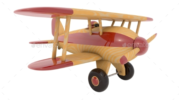 Wooden Toy Airplane - Objects 3D Renders
