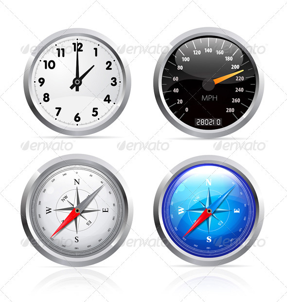 Clock, Speedometer And Compass Set - Objects Vectors