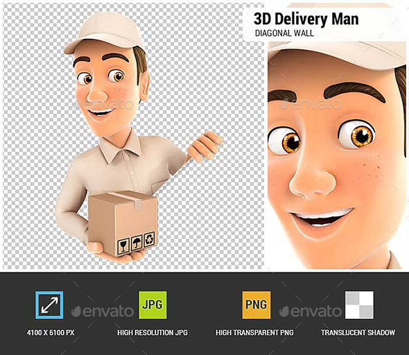 3D Delivery Man Behind Diagonal Wall - Characters 3D Renders