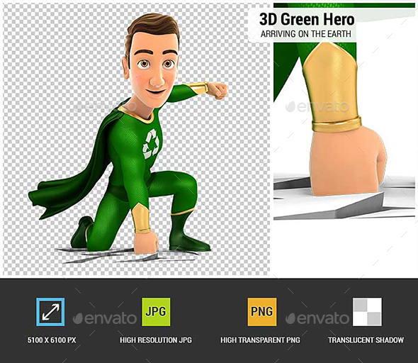 3D Green Hero Arriving on the Earth - Characters 3D Renders