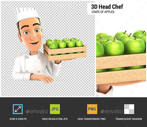 3D Head Chef Holding Wooden Crate of Apples - Characters 3D Renders